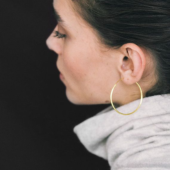 Thin Gold Hoop Earrings Large Minimalist