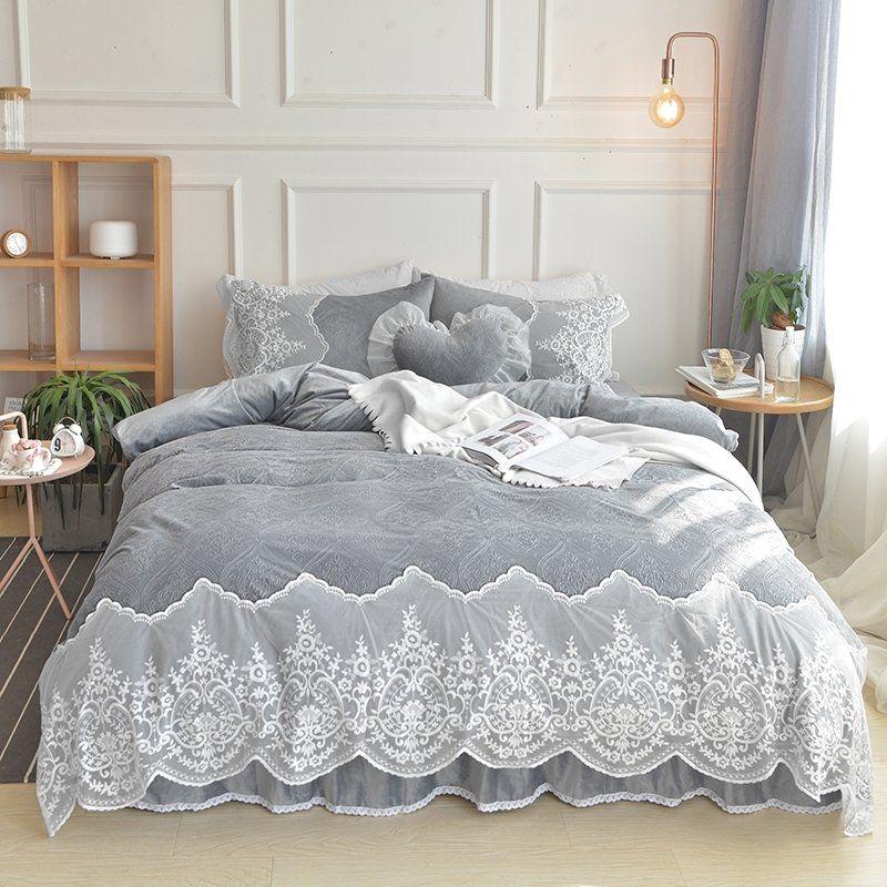 Queen Size Bedding Sets, Elegant Slate Grey Bedding