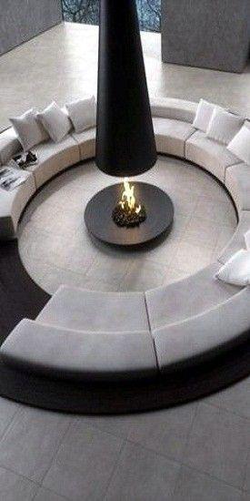 "♂ Modern Design Interior Circular Sitting With Fireplace  ""less Stunning Circular Living Room Design Design Ideas"