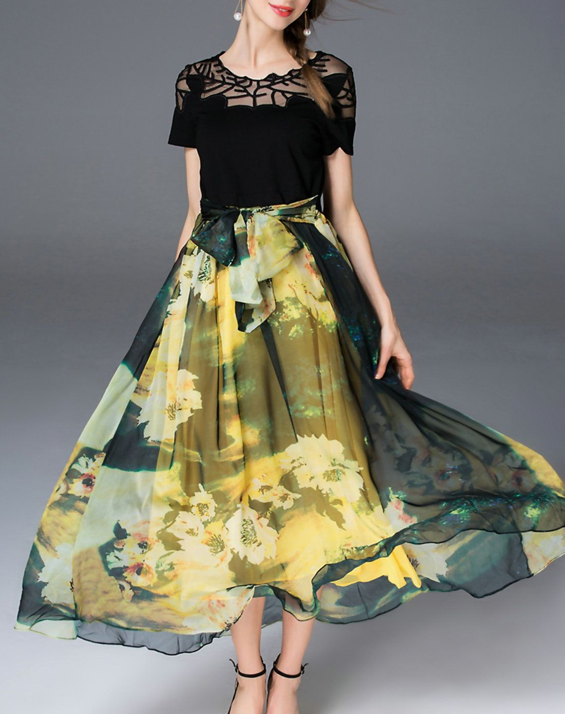 Adorewe vipme aline dresses lanjian yellow crew neck floral