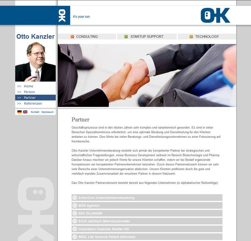Webseite für den Biotech / Pharma Consulter Otto Kanzler.        Umsetzung Template      TYPO3 (Multidomain)      Onpage Suchmaschinenoptimierung      Nachbetreuung      TYPO3 Hosting    www.okanz.at