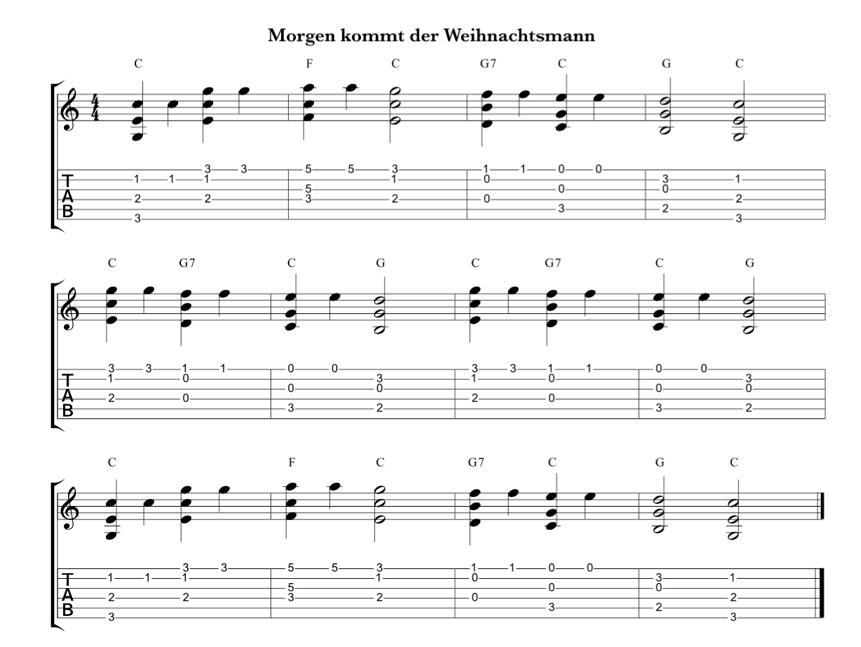 morgen kommt der weihnachtsmann ein einfaches gitarren solo arrangement in 2019 gitarre