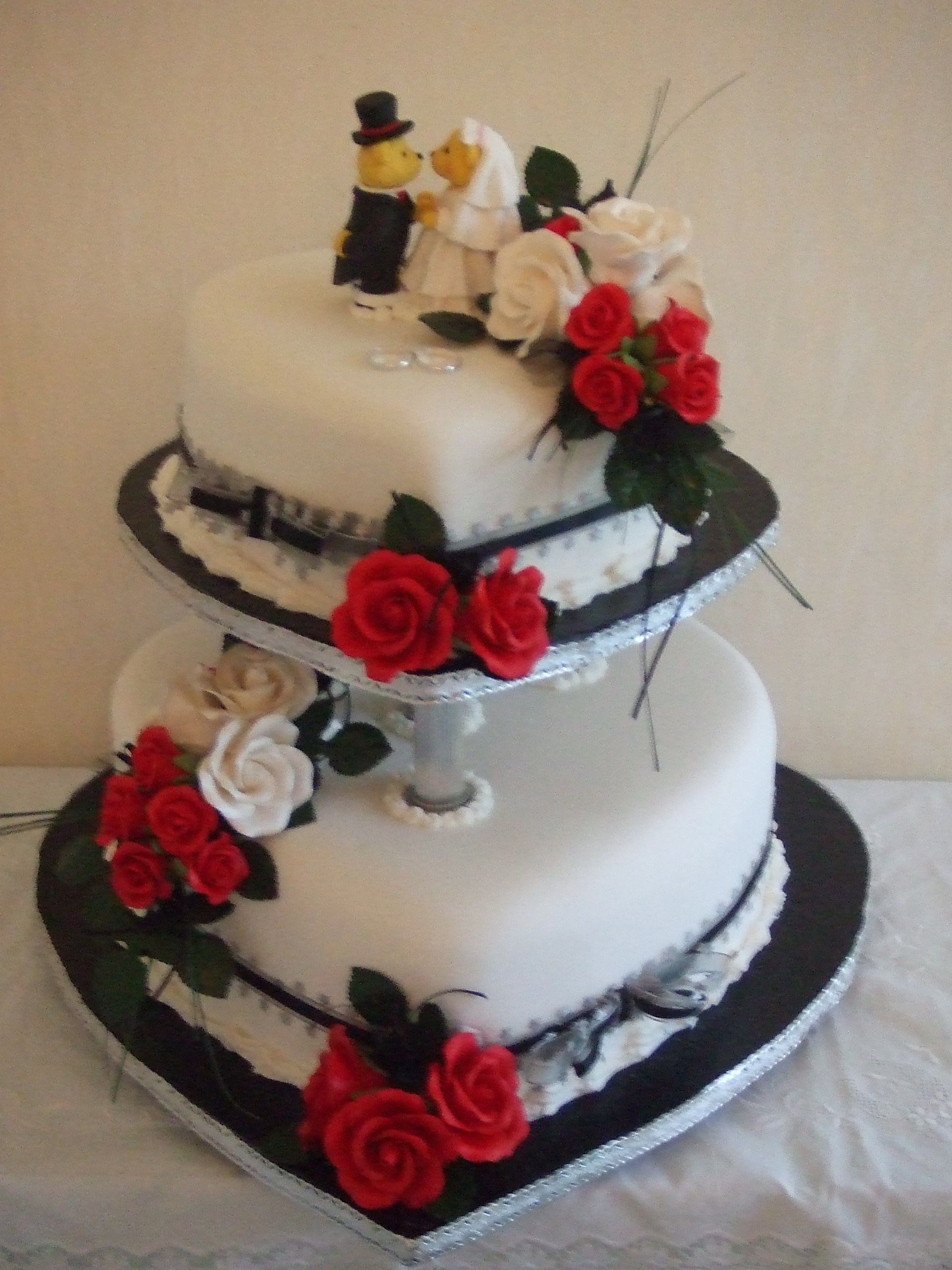2 Tier Heart Wedding Cakes With White Red And Black As