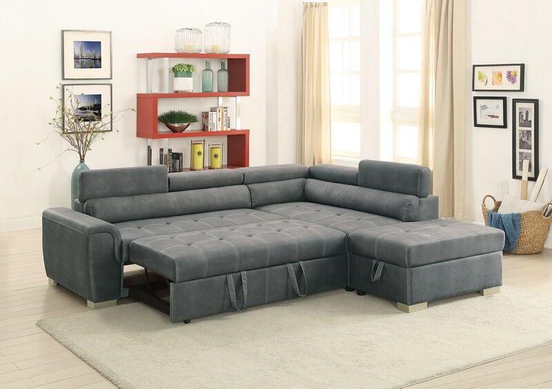 Poundex F6550 3 Pc Madison Slate Grey Leather Like Fabric