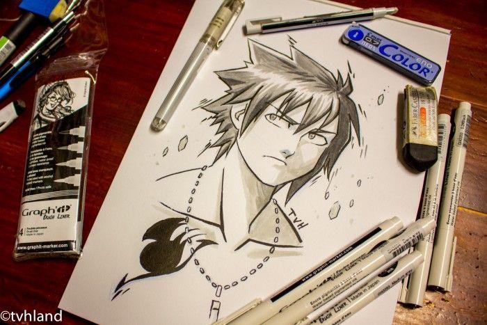 Comment dessiner Grey de Fairy Tail au Graph It Liner Brush ?