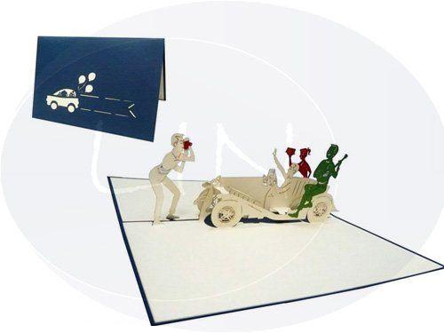 Aufklappbare POP UP Grußkarte einer Feier im Oldtimer. Mehr entdecken auf: www.lin-popupkarten.de