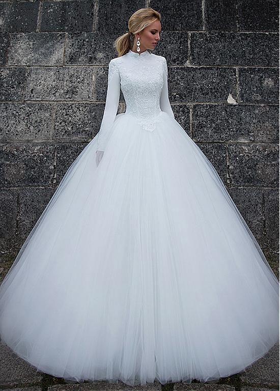 Vintage Satin High Collar Natural Waistline Ball Gown Wedding Dress ...
