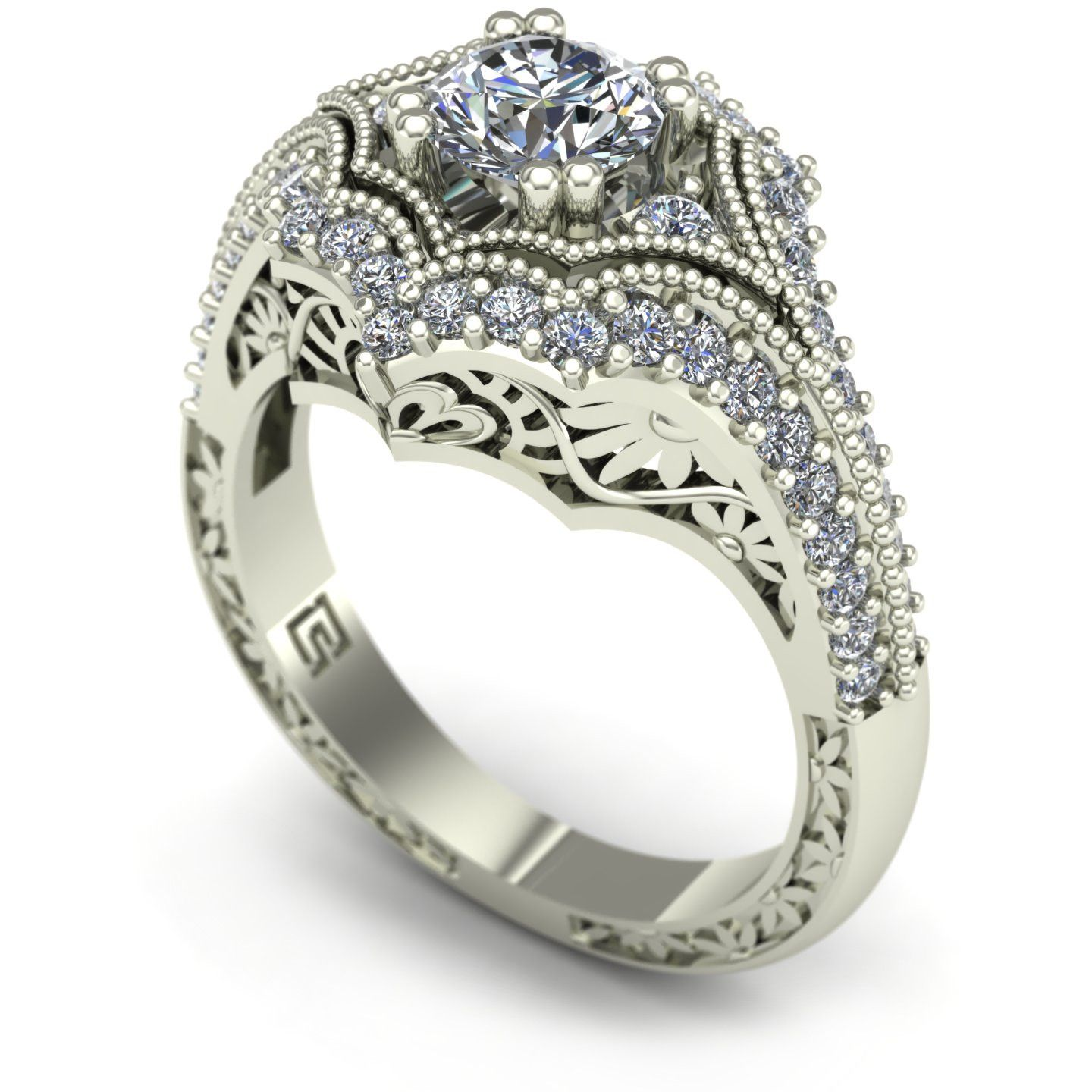 Diamond engagement ring with floral carving in 14k white gold ...