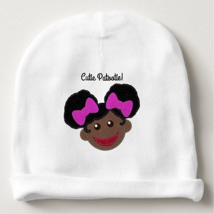 Afro Puffs Girl in Pink Bows Baby Beanie, Afro Puffs Girl in Pink Bows Baby Beanie , Afro Puffs Gi
