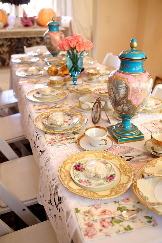 Beautiful Bridal Shower Tea Party Table Setting | Bridal ...