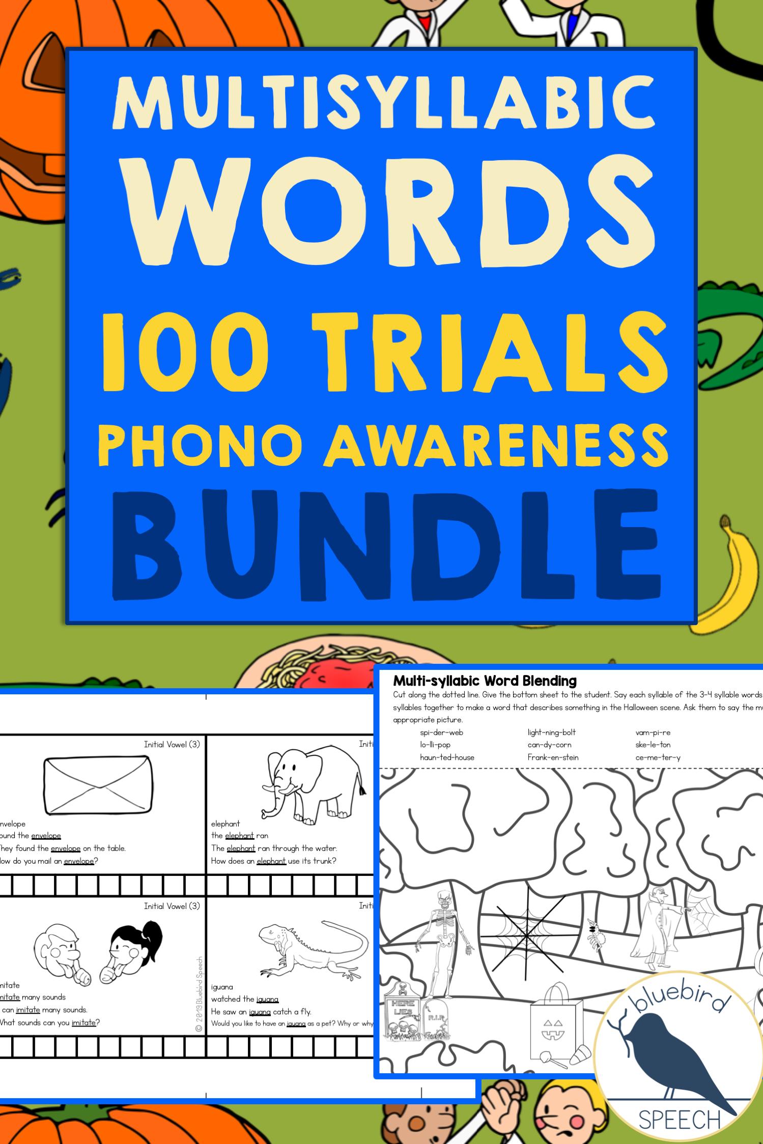 Bundle Multisyllabic Word Practice In Speech Therapy
