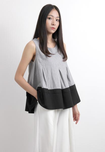 Mixed Fabric Pinstripe Vest
