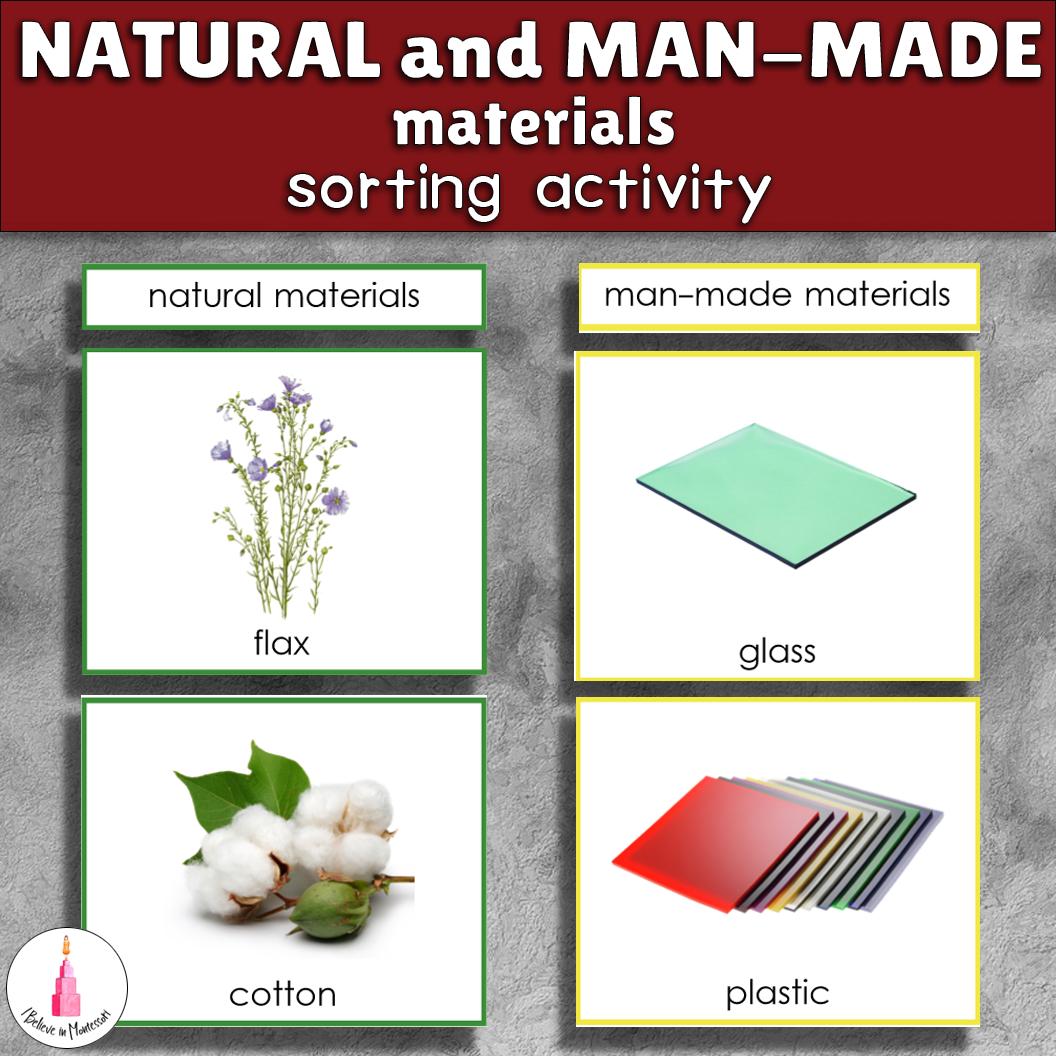 Natural And Man Made Materials Sorting Cards
