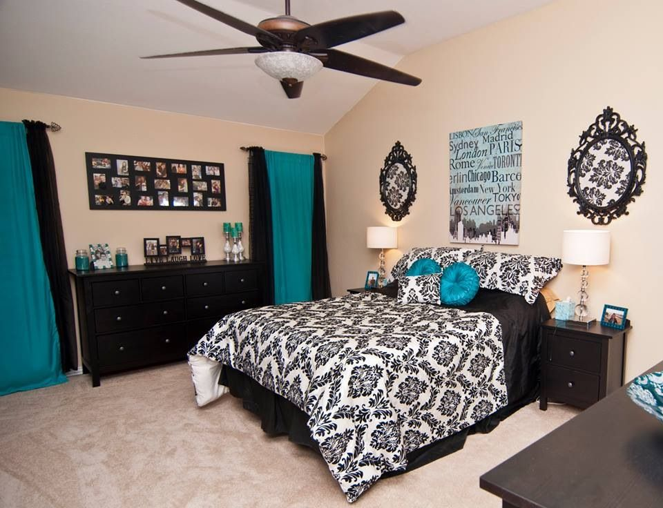 Finally Finished My Master Bedroom! Tiffany Blue, Black, Silver And White.