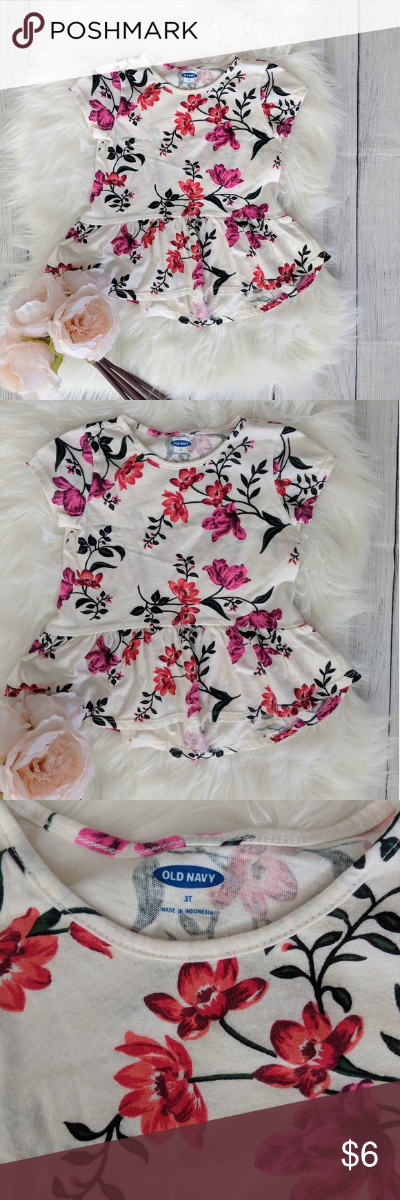 80c83d3e5 3T Old Navy Flower Print Shirt Brand: Old Navy Size: 3T Old Navy Shirts &  Tops Tees - Short Sleeve