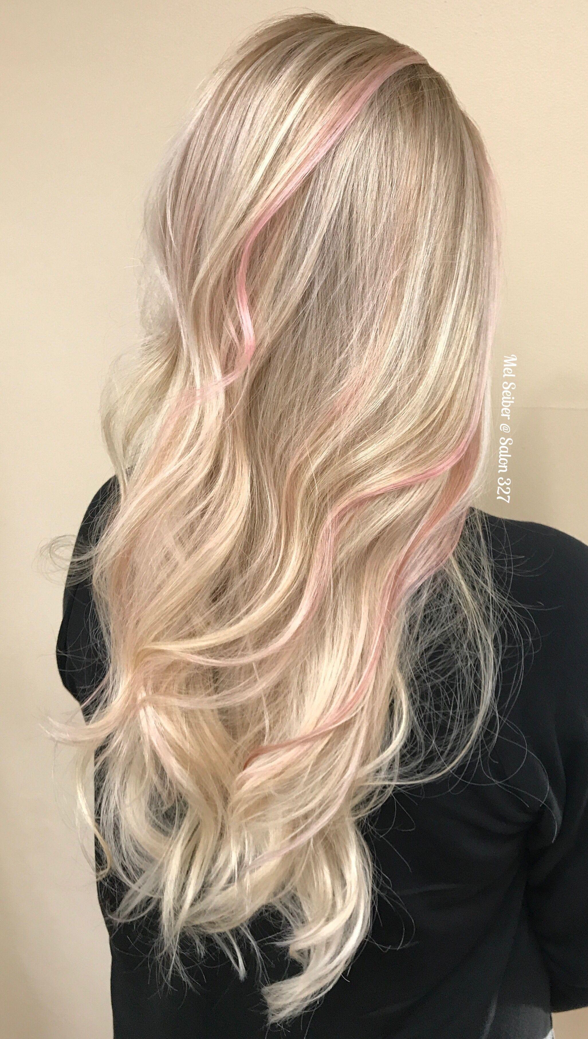 Blonde Balayage With Pink Peekaboos Pink Blonde Hair Hair Streaks Blonde Hair With Pink Highlights