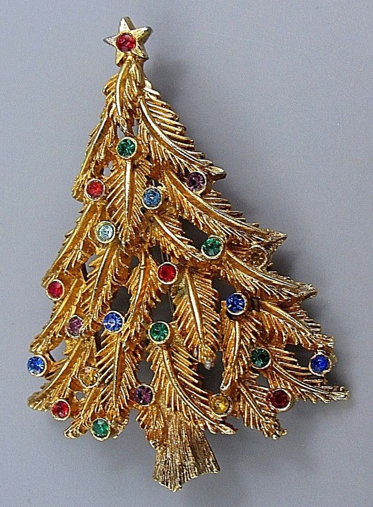 Details about NICE Vintage Brooch Pin GLITZY Christmas