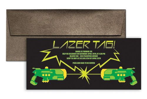 Laser Tag Water Gun Birthday Invitation Ideas 9x4 In Horizontal