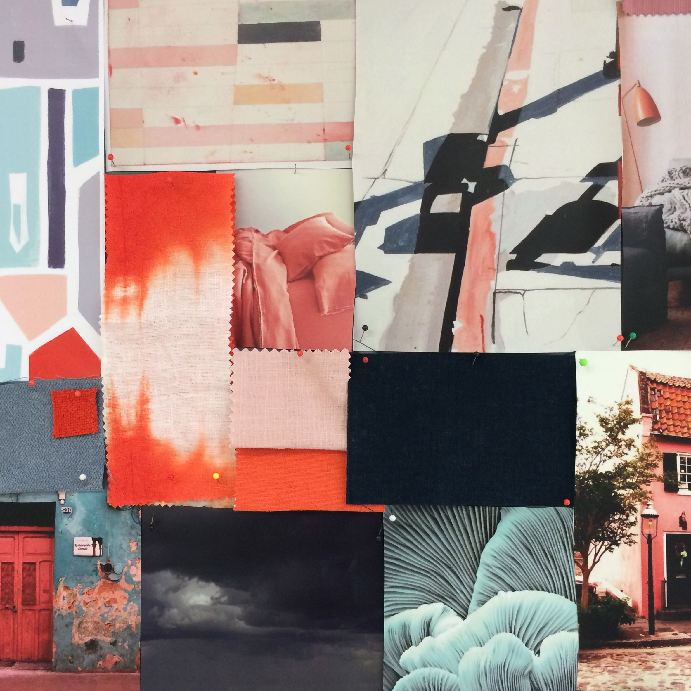 Warwick Fabrics Moodboard Inspiration Petrol And Coral Colour Combination