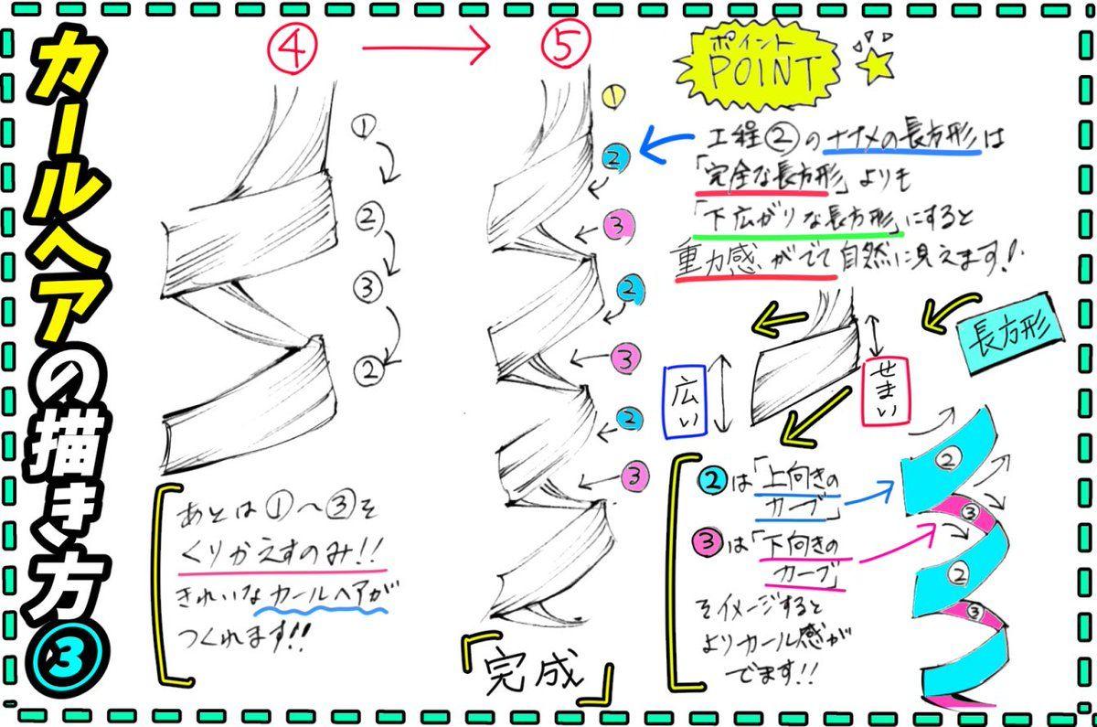 吉村拓也 Fanboxイラスト講座 在 Twitter 女の子の髪の描き方 三つ編みヘアーの手順 と くるくるカール髪の構造 が 上達する 4ページイラスト講座 です How To Draw Hair Manga Tutorial Concept Art Drawing