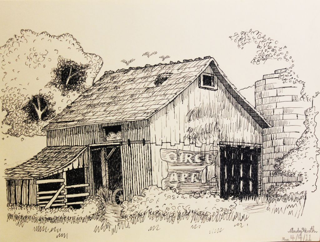 Pen Drawings Old Barns Acrylic