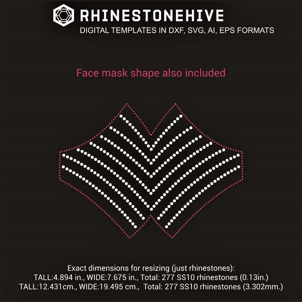 Face Mask Lines Rhinestone Template Digital Download Ai Svg Eps Png Dxf Rhinestone Cnc Software Templates