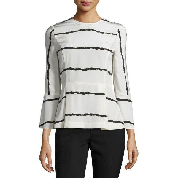 Derek Lam 10 Crosby Striped Silk Bell-Sleeve Blouse (19,245 DOP) ❤ liked on Polyvore featuring tops, blouses, soft white multi, 3/4 sleeve tops, white pleated blouse, white silk top, silk blouses and white bell sleeve top