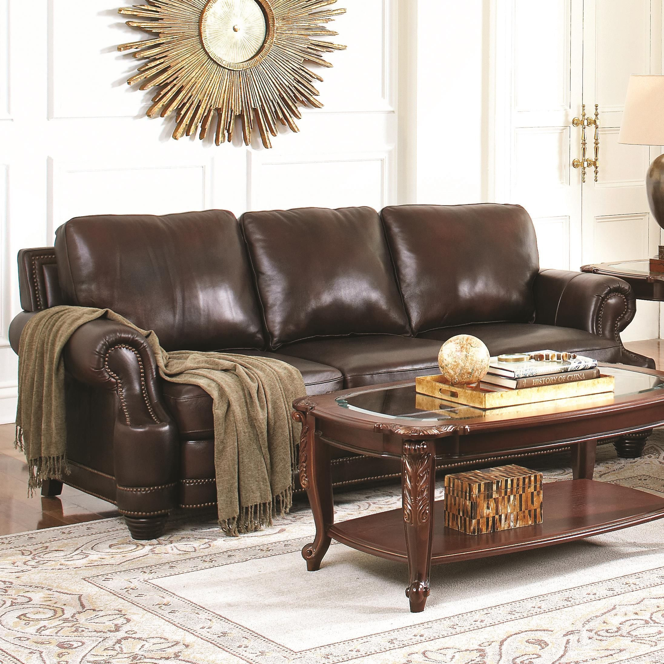 Best Coaster Crawford Traditional Leather Sofa With Scoop Arms 400 x 300