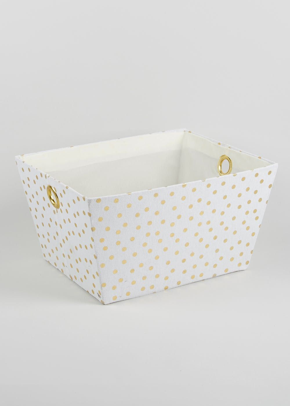Fabric Storage Spotted Tray 43cm X 26cm X 24cm Bedroom Fabric