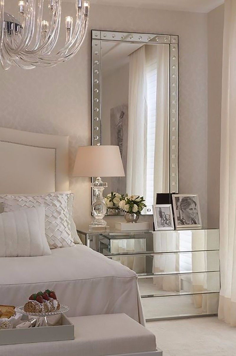 gorgeous mirrored nightstand with a mirror in bedroom over