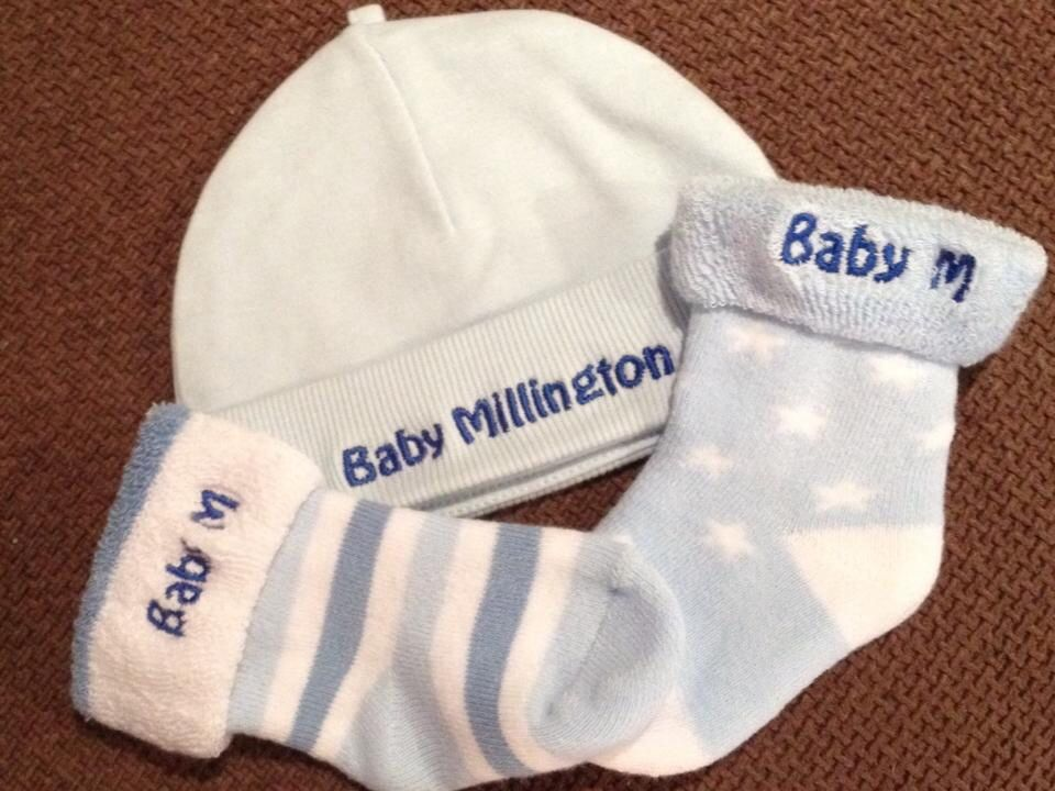 The perfect personalised baby shower gift! Ideal for baby hamper baskets. Available from Embroidery Wizard, www.embroiderywizard.org