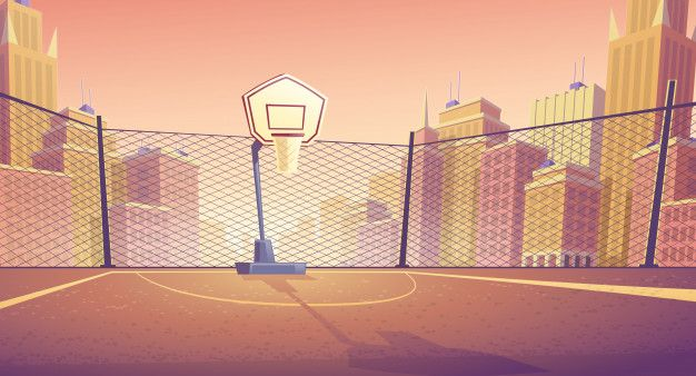 Download Cartoon Background Of Basketball Court In City Outdoor Sports Arena With Basket For Game For Free Cartoon Background Basketball Background Basketball Court