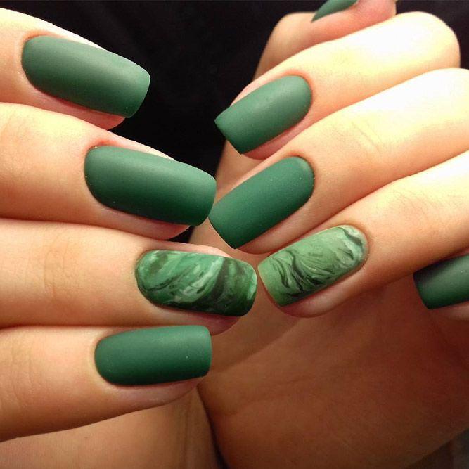36 Fresh Green Nails Ideas To Get This Season   Diseños de uñas y ...