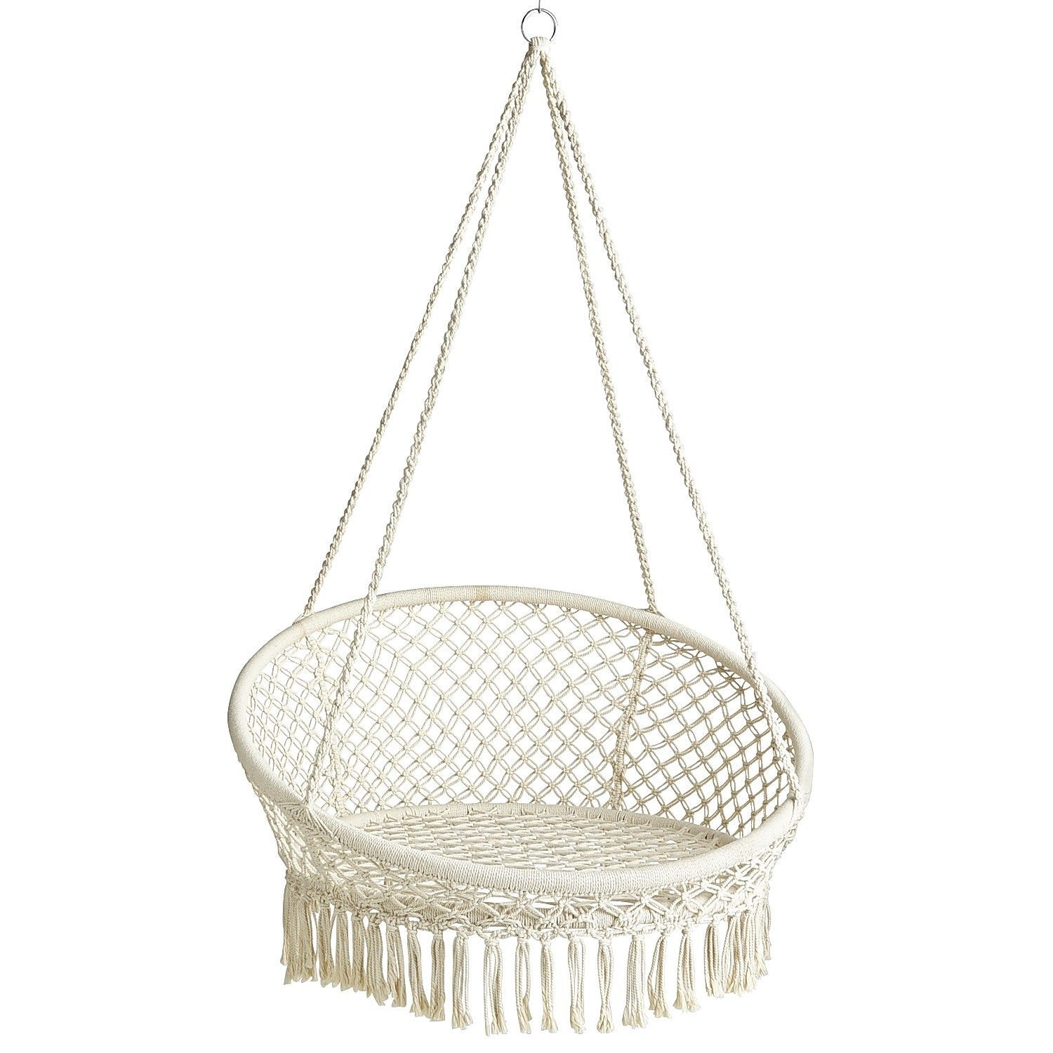 White Macrame Hanging Saucer Chair Wrought Iron