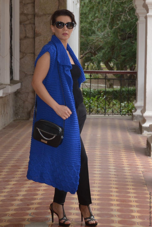 синий вязаный кардиган фото