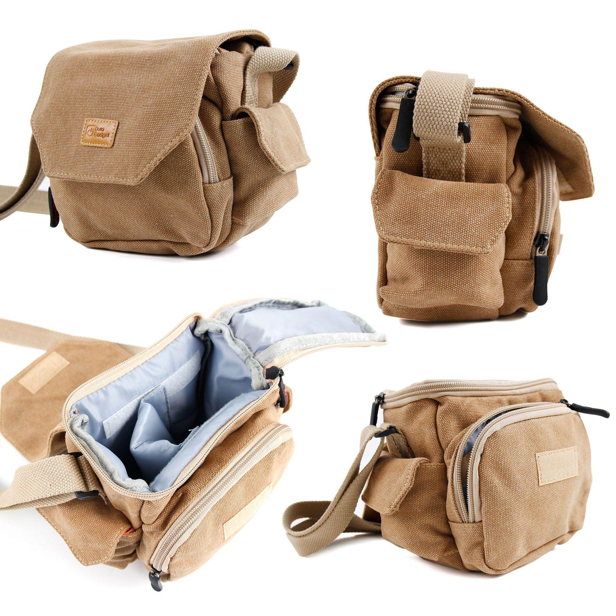 7c634187b881 DURAGADGET Tan Brown Medium Sized Canvas Carry Bag for New Olympus ...