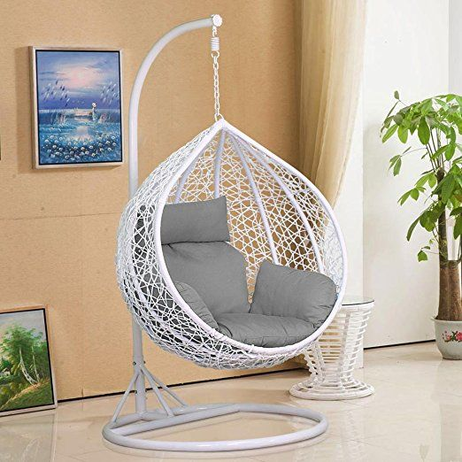 Tinkertonk Rattan Swing Chair Patio Garden Wicker Hanging Egg Chair Hammock  W/Cushion U0026 Cover Indoor Or Outdoor   Max.150kg White: Amazon.co.uk: Garden  U0026 ...