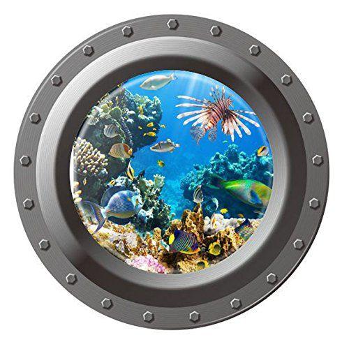 Sunken Ship Ocean Themed Porthole Window Wall Decals Ocean Underwater 3D Vinyl