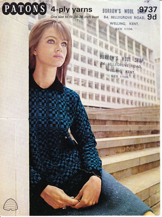 Vintage 1960's Knitting Pattern Op-art Jumper one size to fit 34' to 36' bust
