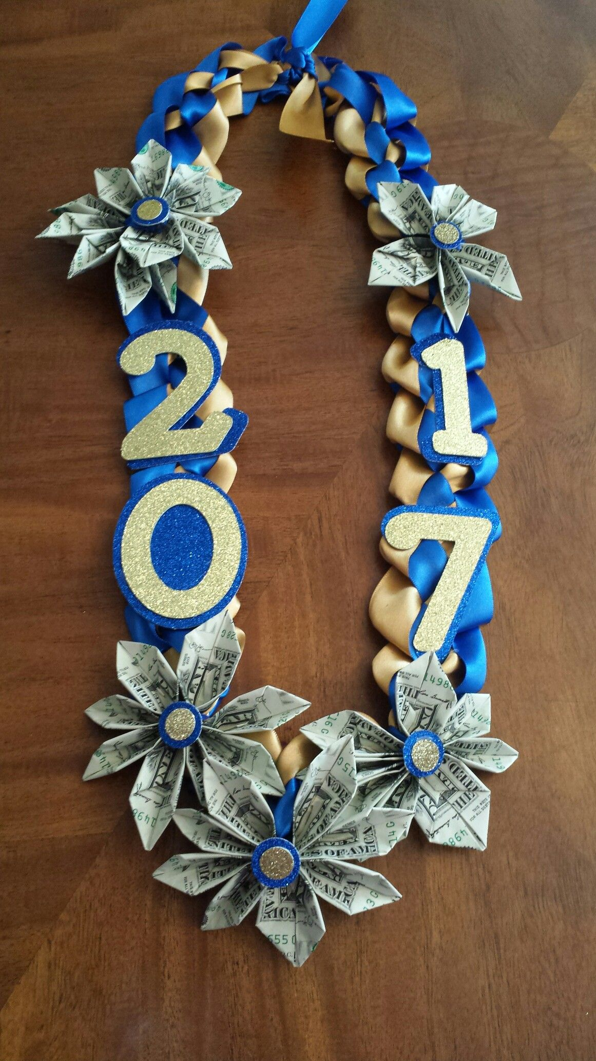 Double ribbon money flower lei with images graduation