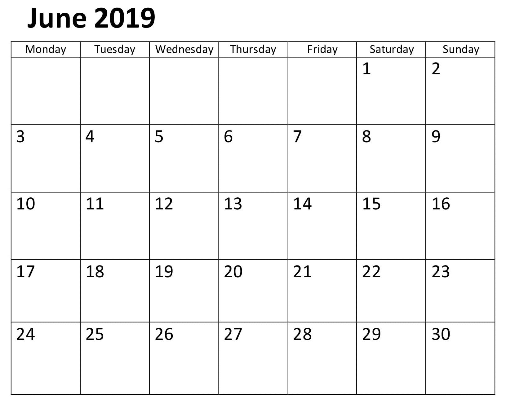Calendar June 2019 Template Word Calendar Template