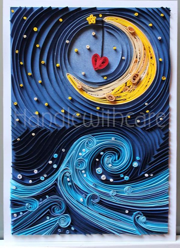Paper quilling moon