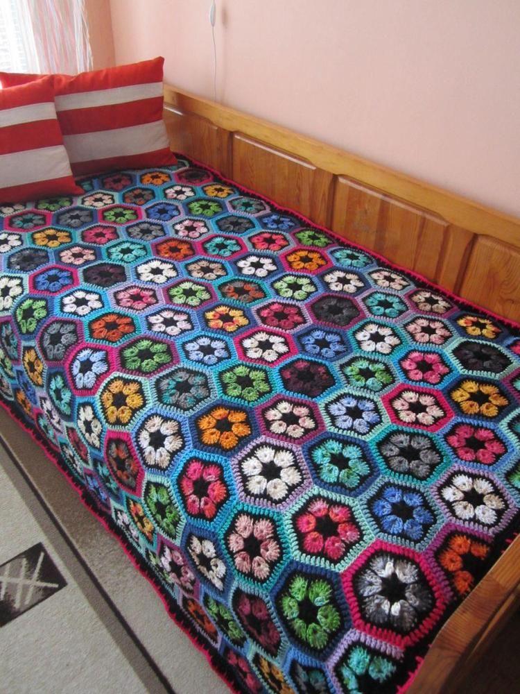 African flower crochet blanket Patchwork afghan | Bollywood | Pinterest