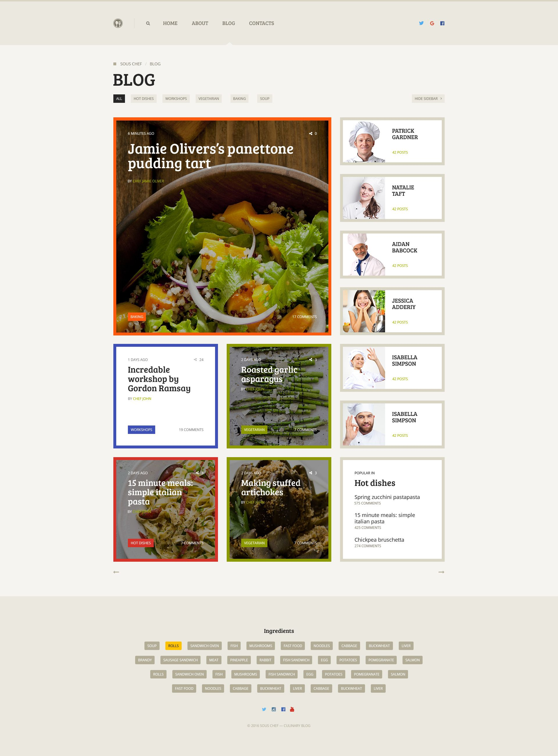 Sous Chef — Unique Clean PSD Template for Culinary Blog ...
