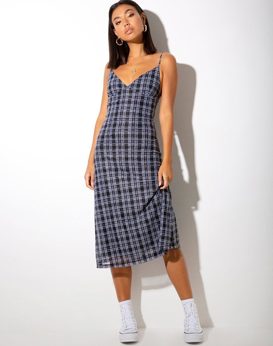 Cotina Midi Dress In Inkblot Check Black And White Skirt And Sneakers Plaid Slip Dress Slip Dress Outfit [ 1100 x 870 Pixel ]