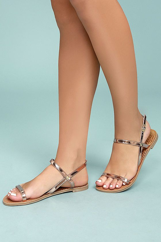5508c93165 With the Rika Rose Gold Flat Sandals, simplicity has never been more  perfect! Metallic vegan leather shapes a peep-toe upper and matching, ...