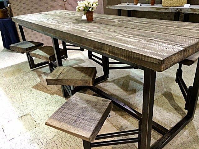 Awesome table with attached swinging stools - found in ...