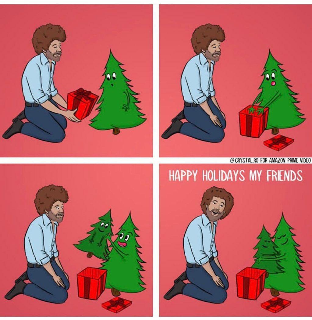 Happy Holidays My Friends Bob Ross Funny Happy Little Trees Bob Ross