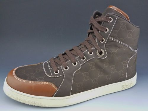 b357c14beed9 $349 New - GUCCI sz 8.5 NYLON GUCCISSIMA HIGH TOP SNEAKER MENS BROWN fit US  9.5