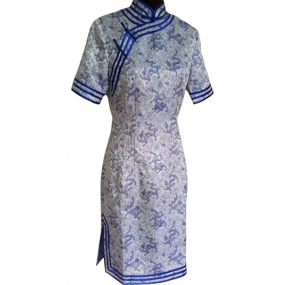 Dragon Pattern Short Sleeve Cheongsam Dress #dress #cheongsam #qipao #chipao #fashion #partydress #promdress